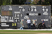 The mobile scoreboard is used for the last time and shows that Essex have won the match by two wickets, scoring 136 for 8 in their second innings - Essex CCC vs Hampshire CCC - LV County Championship Division Two Cricket at Castle Park, Colchester, Essex - 16/07/14 - MANDATORY CREDIT: Gavin Ellis/TGSPHOTO - Self billing applies where appropriate - contact@tgsphoto.co.uk - NO UNPAID USE