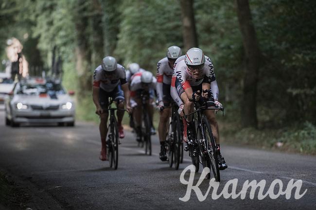 Dries Devenyns (BEL/IAM) leading his teammates during the TTT<br /> <br /> 12th Eneco Tour 2016 (UCI World Tour)<br /> stage 5 (TTT) Sittard-Sittard (20.9km) / The Netherlands