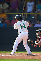 Clinton LumberKings shortstop Chris Mariscal (14) at bat during a game against the Great Lakes Loons on August 16, 2015 at Ashford University Field in Clinton, Iowa.  Great Lakes defeated Clinton 3-2.  (Mike Janes/Four Seam Images)