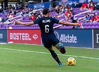 ORLANDO, FL - FEBRUARY 21: Lynn Williams #6 of the USWNT crosses the ball during a game between Brazil and USWNT at Exploria Stadium on February 21, 2021 in Orlando, Florida.