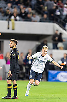 LOS ANGELES, CA - MARCH 08: Jakob Glesnes #5 of Philadelphia Union celebrates a goal against LAFC during a game between Philadelphia Union and Los Angeles FC at Banc of California Stadium on March 08, 2020 in Los Angeles, California.