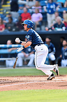 Asheville Tourists left fielder Ben Johnson (11) swings at a pitch during a game against the Rome Braves at McCormick Field on June 24, 2017 in Asheville, North Carolina. The Tourists defeated the Braves 6-5. (Tony Farlow/Four Seam Images)