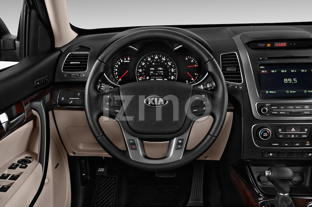 Car pictures of steering wheel view of a 2015 KIA Sorento EX V6 AT 5 Door Suv 2WD Steering Wheel