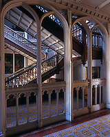The impressive double-flight staircase in the gothic entrance hall of Crom Castle