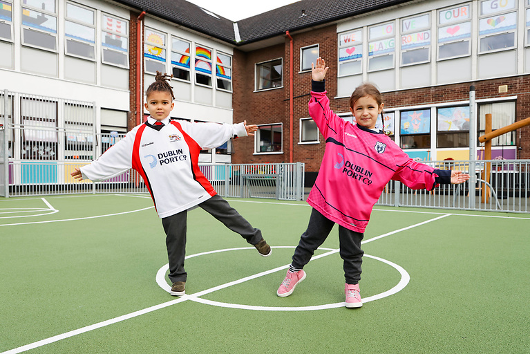 Pupils Leo Smith (age 6) and Ines Tanasa (age 7) take centre court at the launch of the new playground at St. Joseph's Co-Ed National School, East Wall, as part of the community gain from Dublin Port Company's MP2 project.