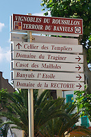Street sign: Cellier Templier, Tragnier, and more. Banyuls sur Mer, Roussillon, France