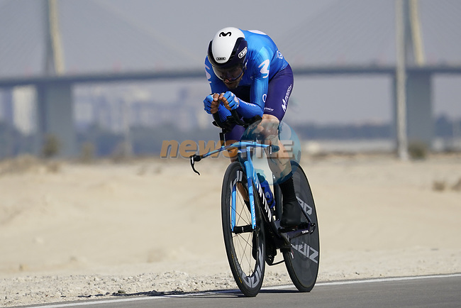 Alejandro Valverde (ESP) Movistar Team during Stage 2 of the 2021 UAE Tour an individual time trial running 13km around  Al Hudayriyat Island, Abu Dhabi, UAE. 22nd February 2021.  <br /> Picture: Eoin Clarke | Cyclefile<br /> <br /> All photos usage must carry mandatory copyright credit (© Cyclefile | Eoin Clarke)