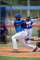 GCL Mets right fielder Edinson Valdez (3) follows through on a swing during a game against the GCL Marlins on August 3, 2018 at St. Lucie Sports Complex in Port St. Lucie, Florida.  GCL Mets defeated GCL Marlins 3-2.  (Mike Janes/Four Seam Images)