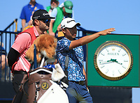 18th July 2021; Royal St Georges Golf Club, Sandwich, Kent, England; The Open Championship,  Golf, Day Four; Collin Morikawa (USA) discusses how to play from the tee at the par three 6th hole
