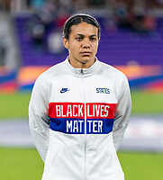 ORLANDO, FL - JANUARY 22: Alana Cook #28 of the USWNT stands during introductions before a game between Colombia and USWNT at Exploria stadium on January 22, 2021 in Orlando, Florida.