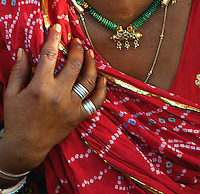 Close up of a Jaipur Women at the Market area Rajasthan India, also called the pink City