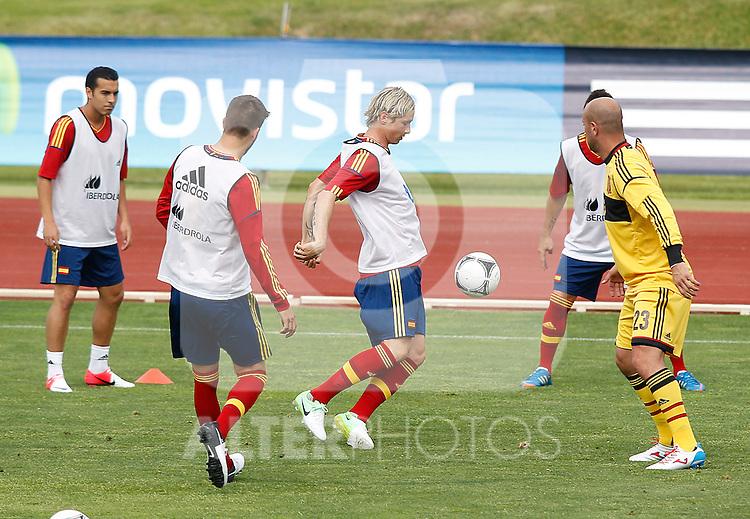 Spanish national football team Pedro Rodriguez, Gerard Pique, Fernando Torres and Pepe Reina during training session.June 1,2012.(ALTERPHOTOS/Acero)