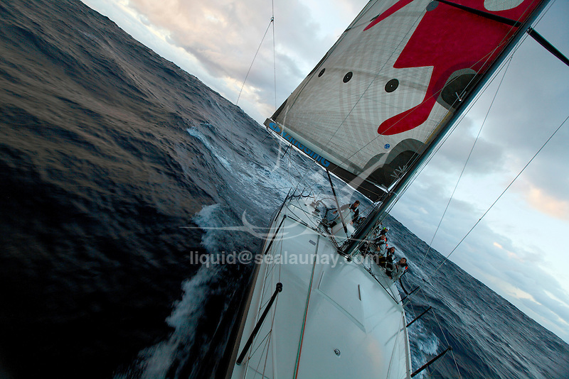 Onboard Living Doll, Farr 55, built by Cookson Boats for Melbourne yachtsman Michael Hiatt competing in the Cruising Yacht Club of Australia's (CYCA) dramatic 92 nautical-miles Flinders Islet Race that started off Point Piper on Sydney Harbour where a yacht, Shock Wave, sponsored by PriceWaterhouseCoopers, crashed into rocks off Flinders Islet and ran aground at about 3am..Experienced sailors Sally Gordon, 47, of Darling Point, and Andrew Short, 48, of The Spit, were pulled unconscious from the water early today but couldn't be revived, police said..