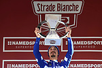 Julian Alaphilippe (FRA) Deceuninck-Quick Step wins Strade Bianche 2019, running 14km from Siena to Siena, held over the white gravel roads of Tuscany, Italy. 9th March 2019.<br /> Picture: Eoin Clarke   Cyclefile<br /> <br /> <br /> All photos usage must carry mandatory copyright credit (© Cyclefile   Eoin Clarke)