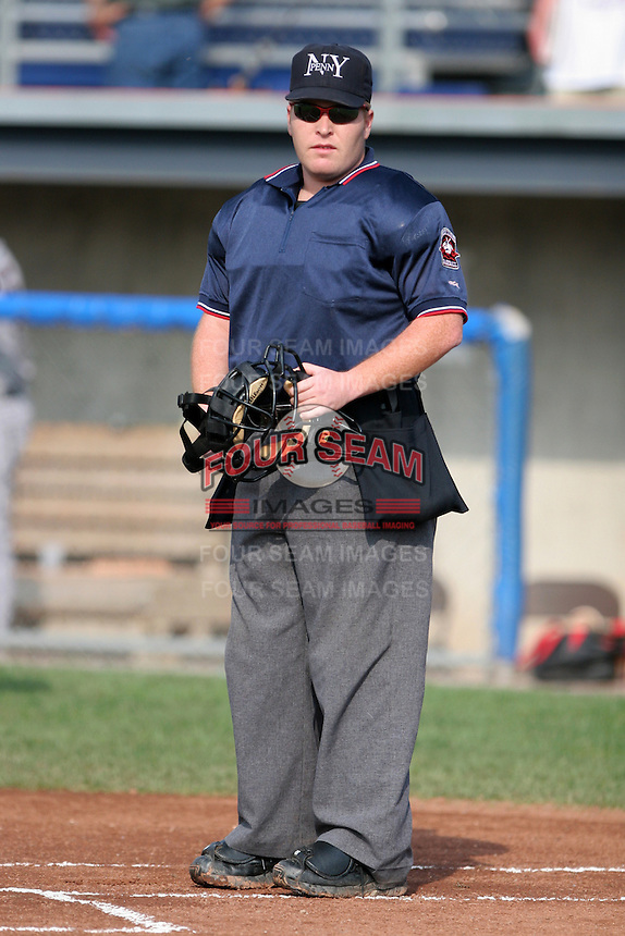 Umpire Matthew Pridemore during a NY-Penn League game at Dwyer Stadium on August 27, 2006 in Batavia, New York.  (Mike Janes/Four Seam Images)