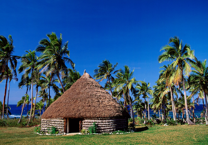 Traditional thatched roof hut and palm trees Lifou Islands New Caledonia.