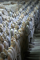 The terracotta army at their excavation site in Xi'an, China. The Qing Dynasty burial site was discovered in 1974 by several local farmers while drilling a well..02-JAN-04