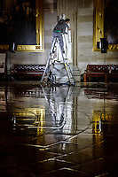 """Hamilton's Valet"" by Art Harman. Late at night, the United States Capitol staff cleans and restores the history of our Capitol. This expert is cleaning the statue of Alexander Hamilton."
