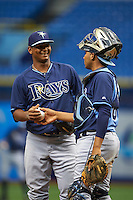 Tampa Bay Rays pitcher Alexis Tapia (30) and catcher Rafelin Lorenzo (89) during an instructional league game against the Boston Red Sox on September 24, 2015 at Tropicana Field in St Petersburg, Florida.  (Mike Janes/Four Seam Images)