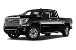 Stock pictures of low aggressive front three quarter view of 2020 GMC Sierra-2500-HD Denali 4 Door Pick-up Low Aggressive