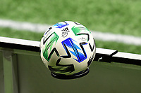 ATLANTA, GA - AUGUST 22: MLS 25th Anniversary match ball during a game between Nashville SC and Atlanta United FC at Mercedes-Benz Stadium on August 22, 2020 in Atlanta, Georgia.