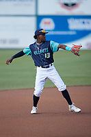 Lynchburg Hillcats shortstop Angel Martinez (13) during the game against the Myrtle Beach Pelicans at Bank of the James Stadium on May 22, 2021 in Lynchburg, Virginia. (Brian Westerholt/Four Seam Images)