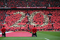 """Pictured: """"20"""" on one of the Old Trafford stands for the 20 titles the club has won under Sir Alex Ferguson. Sunday 12 May 2013<br /> Re: Barclay's Premier League, Manchester City FC v Swansea City FC at the Old Trafford Stadium, Manchester."""