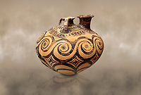 Minoan decorated stirrup jar with swirl design, Zakros Palace  1500-1400 BC; Heraklion Archaeological  Museum.
