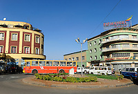 ETHIOPIA, Addis Ababa, traffic at Piazza , city centre / AETHIOPIEN, Addis Abeba, Verkehr am Piazza im Stadtzentrum