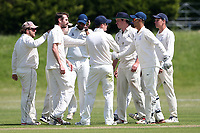 A Smith of Billericay celebrates with his team mates after taking the wicket of R Saunders during Billericay CC vs Hornchurch CC (batting), Hamro Foundation Essex League Cricket at the Toby Howe Cricket Ground on 12th June 2021