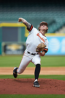 Sam Houston State Bearkats starting pitcher Riley Gossett (24) in action against the Vanderbilt Commodores in game one of the 2018 Shriners Hospitals for Children College Classic at Minute Maid Park on March 2, 2018 in Houston, Texas. The Bearkats walked-off the Commodores 7-6 in 10 innings.   (Brian Westerholt/Four Seam Images)