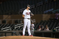 Salt River Rafters relief pitcher Hector Lujan (35), of the Minnesota Twins organization, looks in for the sign during an Arizona Fall League game against the Scottsdale Scorpions at Salt River Fields at Talking Stick on October 11, 2018 in Scottsdale, Arizona. Salt River defeated Scottsdale 7-6. (Zachary Lucy/Four Seam Images)