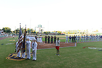 Jacksonville Suns national anthem before game three of the Southern League Championship Series against the Chattanooga Lookouts on September 12, 2014 at Bragan Field in Jacksonville, Florida.  Jacksonville defeated Chattanooga 6-1 to sweep three games to none.  (Mike Janes/Four Seam Images)