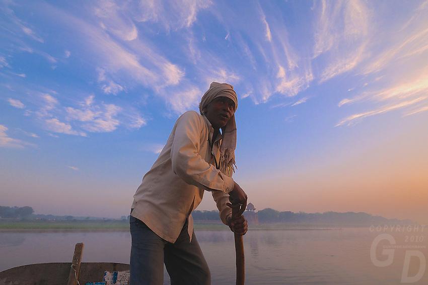 Foggy sunrise at the Yamuna River  new the Taj Mahal, Agra India