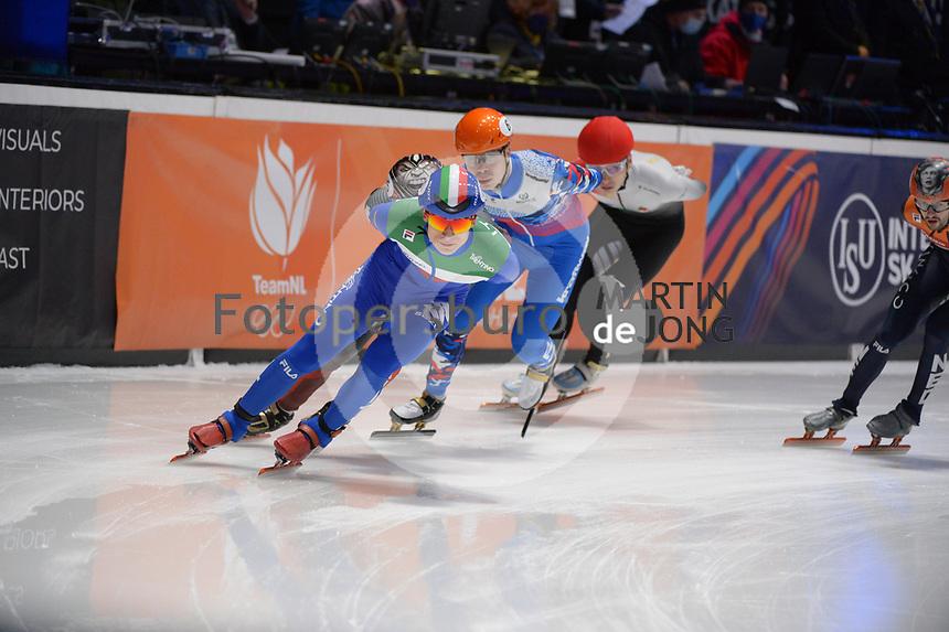 SPEEDSKATING: DORDRECHT: 07-03-2021, ISU World Short Track Speedskating Championships, 3000m Superfinal Men, Pietro Sighel (ITA), Semen Elistratov (RSU), ©photo Martin de Jong