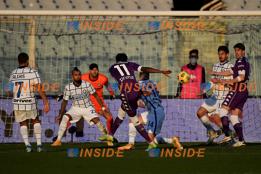 Christian Kouame of ACF Fiorentina scores the goal of 1-1 during the Italy Cup round of 16 football match between ACF Fiorentina and FC Internazionale at Artemio Franchi stadium in Firenze (Italy), January 13th, 2021. Photo Andrea Staccioli / Insidefoto
