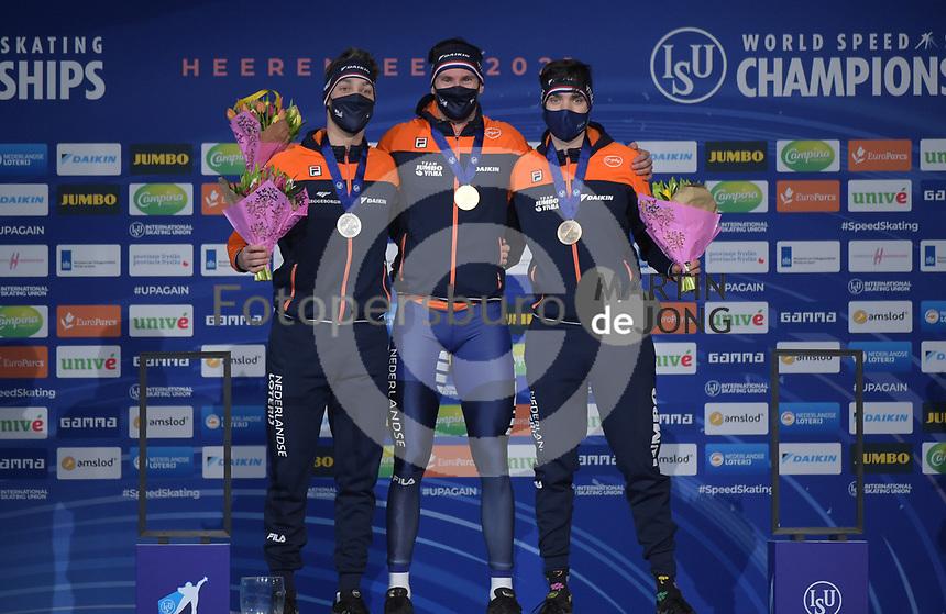 SPEEDSKATING: HEERENVEEN: 14-02-2021, IJsstadion Thialf, ISU World Speed Skating Championships 2021, Kjeld Nuis, Thomas Krol, Patrick Roest, ©photo Martin de Jong