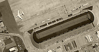 historical aerial photograph Hangar One Moffett Field, Mountain View, California, 1961