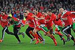 UEFA EURO 2016 Qualifier match between Wales and Andorra at Cardiff City Stadium in Cardiff : Wales football team celebrating at full time.