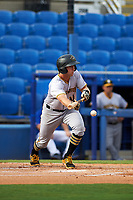 Bradenton Marauders designated hitter Jordan George (10) squares around to bunt during a game against the Dunedin Blue Jays on July 17, 2017 at Florida Auto Exchange Stadium in Dunedin, Florida.  Bradenton defeated Dunedin 7-5.  (Mike Janes/Four Seam Images)