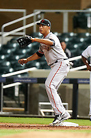 Scottsdale Scorpions infielder Ricky Oropsesa #46, of the San Francisco Giants organization, during an Arizona Fall League game against the Salt River Rafters at Salt River Fields at Talking Stick on October 11, 2012 in Scottsdale, Arizona.  Salt River defeated Scottsdale 6-5.  (Mike Janes/Four Seam Images)