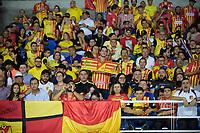 PEREIRA- COLOMBIA, 18-02-2020:Hnchas del Deportivo Pereira ante Jaguares de Córdoba durante partido por la fecha 5 de la Liga BetPlay DIMAYOR I 2020 entre Deportivo Pereira  y Jaguares de Córdoba jugado en el estadio Hernán Ramírez Villegas de la ciudad de Pereira. / Fans of Deportivo Pereira agaisnt of Jaguares of Cordoba during match for the date 5 as part of BetPlay DIMAYOR League I 2020 between Deportivo Pereira and Jaguares de Cordoba played at Hernan Ramirez Villegas stadium in Pereira  city.Photo: VizzorImage / Mauricio Ortiz / Contribuidor