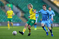 9th January 2021; Carrow Road, Norwich, Norfolk, England, English FA Cup Football, Norwich versus Coventry City; Todd Cantwell of Norwich City is under pressure from Ben Sheaf of Coventry City