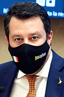 The secretary of Lega party Matteo Salvini  during the conference titled 'The Italians abroad. Analysis after a year of Covid-19' promoted by Lega Party.<br /> Rome (Italy), May 4th 2021<br /> Photo Samantha Zucchi Insidefoto