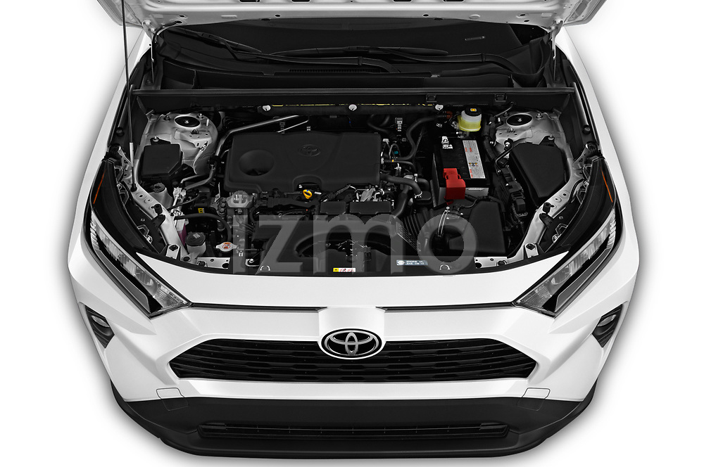 Car stock 2019 Toyota RAV4 XLE Premium 5 Door SUV engine high angle detail view