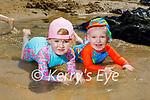 Erin and Billy O'Mahoney enjoying the paddling pool on the beach in Ballybunion on Sunday
