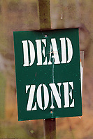 Pictured: A Dead Zone sign. Tuesday 25 January 2011<br /> Re: Swansea City FC footballers and staff have spend a morning at Teamforce Paintball in Llangyfelach near Swansea south Wales.