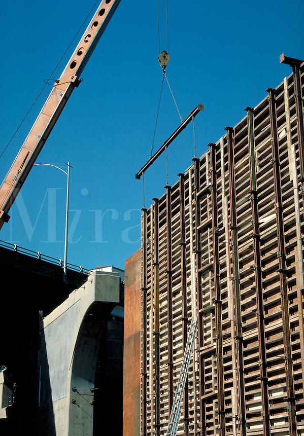 Concrete forms, craine, vert. Hartford CT USA.