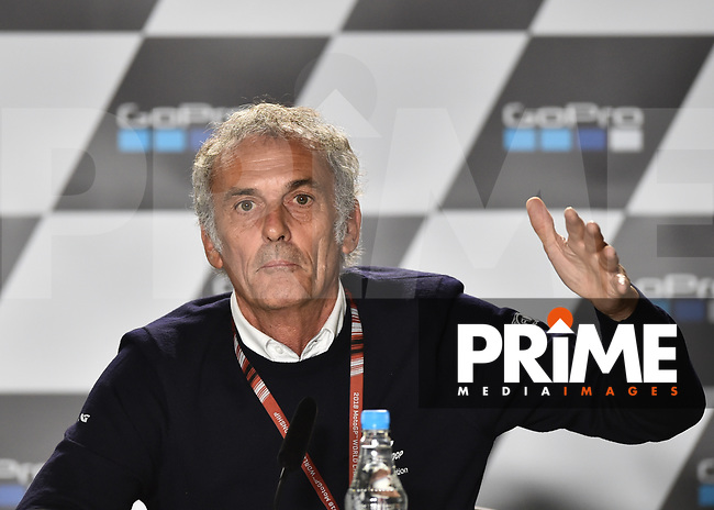 Franco Uncini during press conference to explain Motogp race cancellation during the MotoGP of Great Britain at the Silverstone Circuit, Silverstone, England on 26 August 2018. Photo by Vince Mignott.