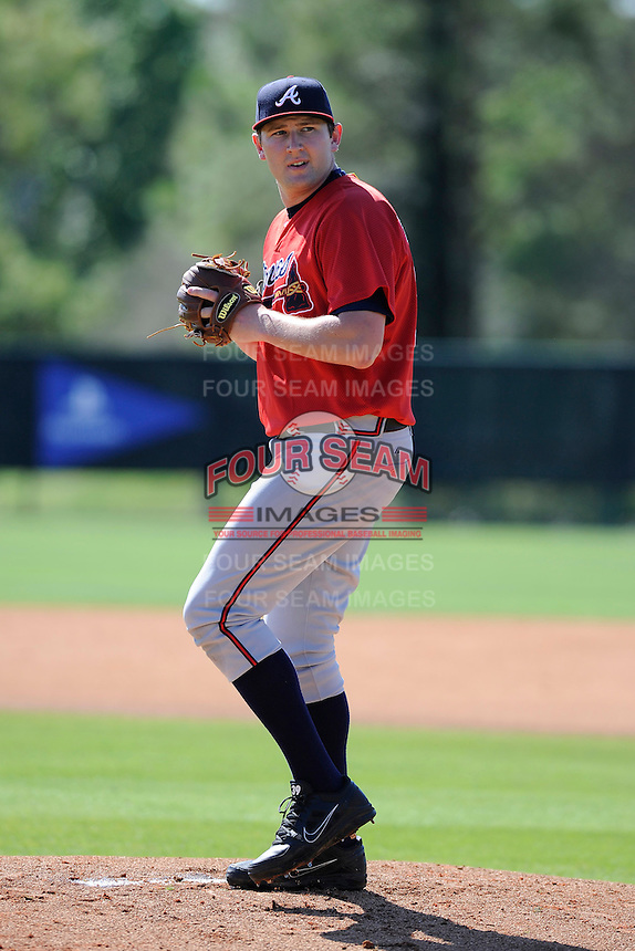 Pitcher Tyler Brosius (87) of the Atlanta Braves farm system in a Minor League Spring Training workout on Monday, March 16, 2015, at the ESPN Wide World of Sports Complex in Lake Buena Vista, Florida. (Tom Priddy/Four Seam Images)